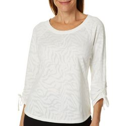 Hearts of Palm Womens Blush Hour Animal Print Burnout Top