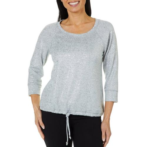 Hearts Of Palm Womens Blush Hour Speckled Shimmer Sweater Bealls