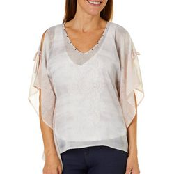 Hearts of Palm Womens Blush Hour Medallion Print Poncho Top