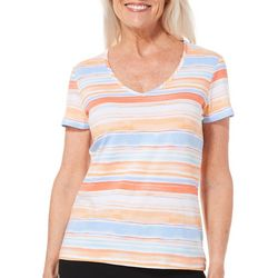 Hearts of Palm Womens Sun In Sight Watercolor Striped Top