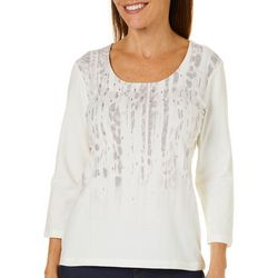Hearts of Palm Womens Blush Hour Embellished Abstract Top