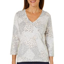 Hearts of Palm Womens Blush Hour Surplice Animal Patch Top