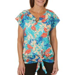 Hearts of Palm Womens Vibrant Vibes Tie Front Top