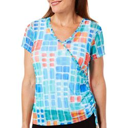 Hearts of Palm Womens Vibrant Vibes Faux-Wrap Top