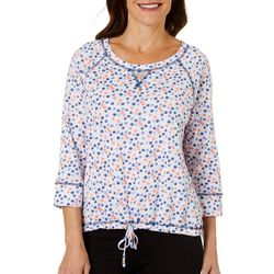 Hearts of Palm Womens Bright Ideas Dot Tie Front Top