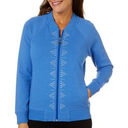 Hearts of Palm Womens Blue Genie Embellished Zip Up Jacket