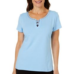 Hearts of Palm Womens Embellished Crisscross Neck Top