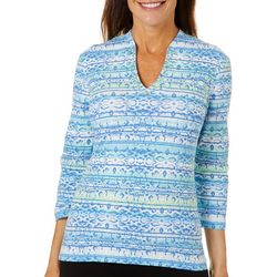 Hearts Of Palm Womens Blue Genie Funnel Neck Top