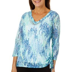 Hearts of Palm Womens Blue Genie Dew Drop Ruched Top
