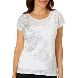 Hearts of Palm Womens Natural Wonder Embellished Flower Top