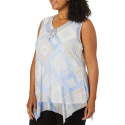 Hearts of Palm Womens Natural Wonders Medallion Print Top