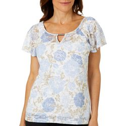Hearts of Palm Womens Natural Wonder Flutter Sleeve Top