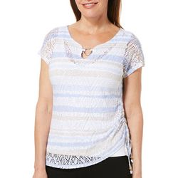 Hearts of Palm Womens Natural Wonders Stripe Ring Neck Top