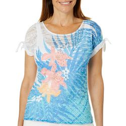 Hearts of Palm Womens Azure Thing Tropical Palm Top