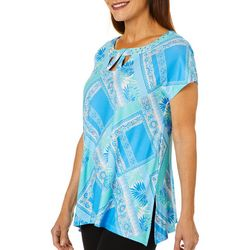 Hearts of Palm Womens Azure Thing Patchwork Jewel Neck Top
