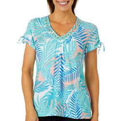 Hearts of Palm Womens Azure Thing Fern Print Jewel Neck Top