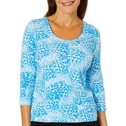 Hearts of Palm Womens Azure Thing Scattered Leopard Top