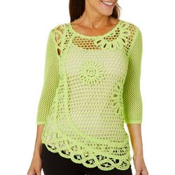 Hearts of Palm Womens In The Limelight Crochet Sweater