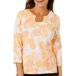Hearts of Palm Womens Citrus Blast Leaf Print Top