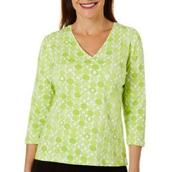 Hearts of Palm Womens Printed Essentials Geo Dot Top
