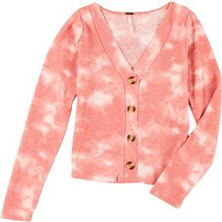 Poof Juniors Long Sleeve Tie Dye Cardigan