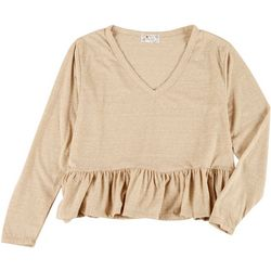 Poof Juniors Solid Long Sleeve Ruffle Top