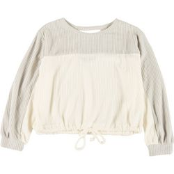 Poof Juniors Colorblock Waffle Knit Tie Sweater