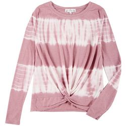 Poof Juniors Long Sleeve Thermal Tie Dye Twist Top