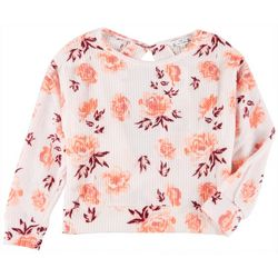 Poof Juniors Long Sleeve Thermal Floral Top