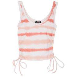 Poof Juniors Tie-Dye Scrunched Sleeveless Crop Top