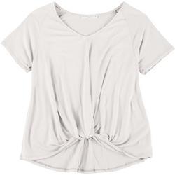 Juniors Short Sleeve Twist Front Top