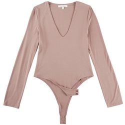Love Tree Juniors Solid Long Sleeve Bodysuit