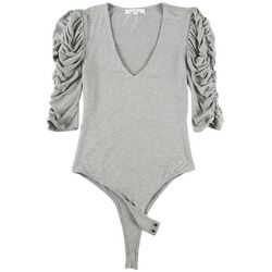 Love Tree Womens Solid Cinched Sleeve Bodysuit
