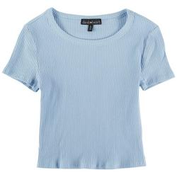 Juniors Solid Ribbed Short Sleeve Top