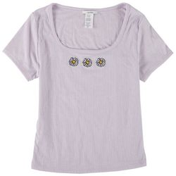 Acemi Juniors Daisy Embroidery Scoop Neck Top