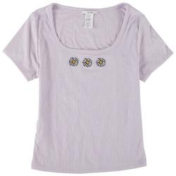 Juniors Daisy Embroidery Scoop Neck Top