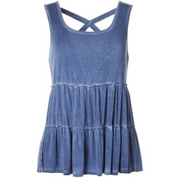 Rewind Juniors Solid Tiered Sleeveless Top