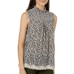 Rewind Juniors Leopard Print Lace Trim Sleeveless Top