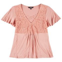 Juniors Solid Crochet Front Short Sleeve Top