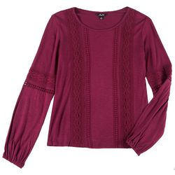 Leighton Juniors Solid Crochet Long Sleeve Top