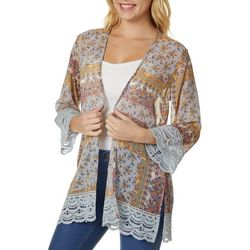 Rewind Juniors Paisley Crochet Lace Trim Kimono
