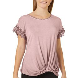 Jolt Juniors Crochet Lace Trim Twist Front Top