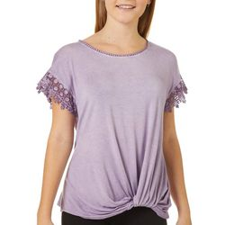 Rewind Juniors Solid Lace Trim Twist Front Top
