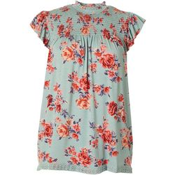 Rewind Juniors Floral Smocked High Neck Top