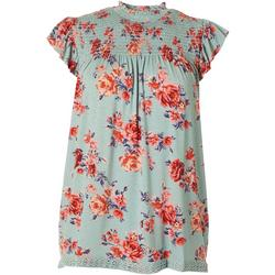 Juniors Floral Smocked High Neck Top