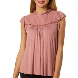 Rewind Juniors Eyelet High Neck Top
