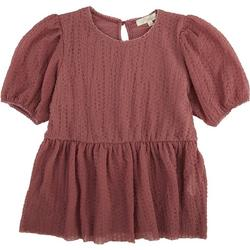 Juniors Solid Textured Puffy Sleeved Baby Doll Blouse