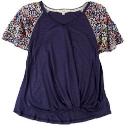 Rewind Juniors Solid Top With Floral Sleeve Detail