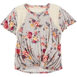 Rewind Juniors Floral Shirt With Mesh Shoulders