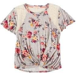 Juniors Floral Shirt With Mesh Shoulders